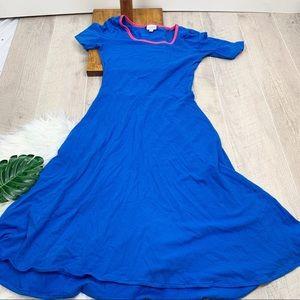 LuLaRoe Blue Short Sleeve Fit Flare Ana Dress 3293